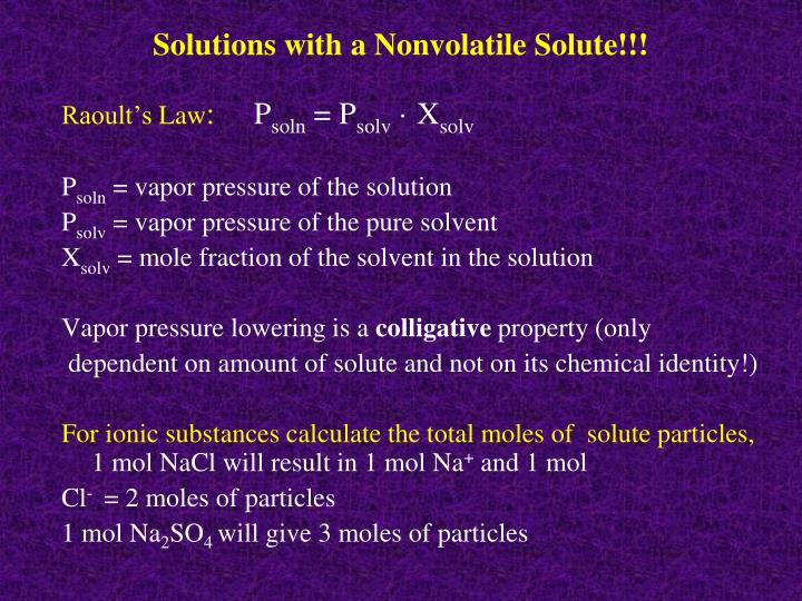 Solutions with a Nonvolatile Solute!!!