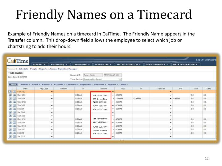 Friendly Names on a Timecard