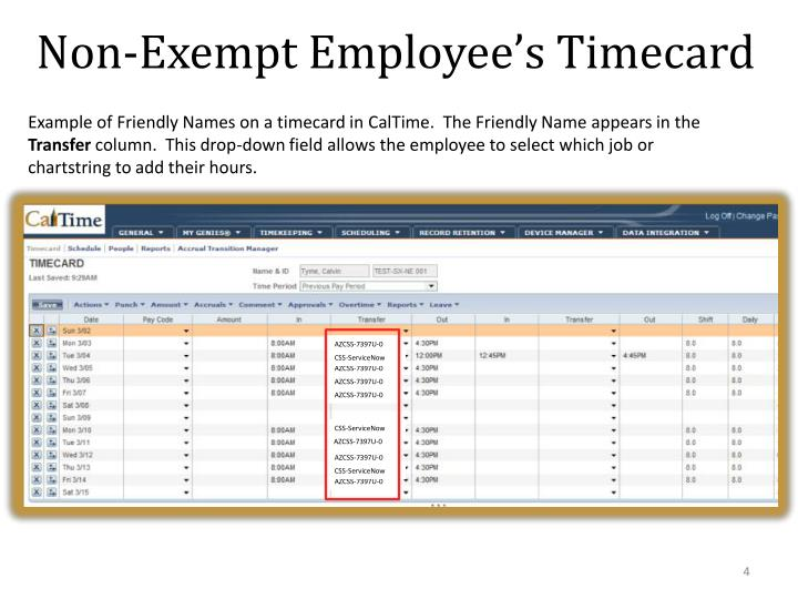 Non-Exempt Employee's Timecard
