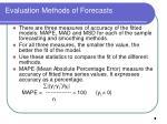 evaluation methods of forecasts