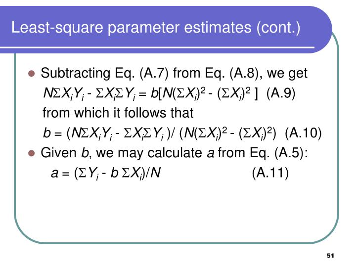 Least-square parameter estimates (cont.)