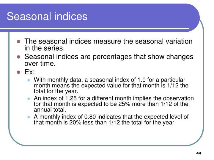 Seasonal indices