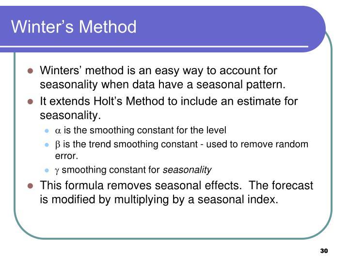 Winter's Method