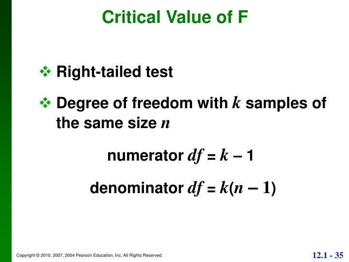 Critical Value of F