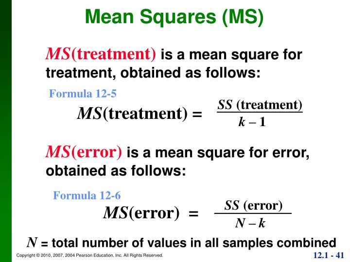 Mean Squares (MS)