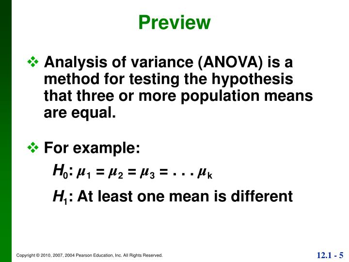 Analysis of variance (ANOVA) is a method for testing the hypothesis that three or more population means are equal.