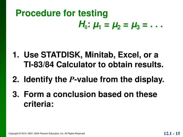 Procedure for testing