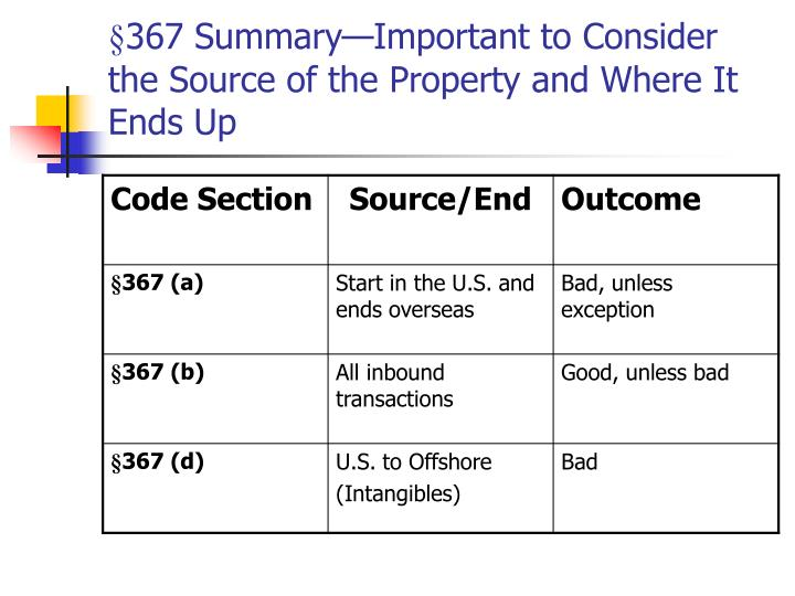 §367 Summary—Important to Consider the Source of the Property and Where It Ends Up