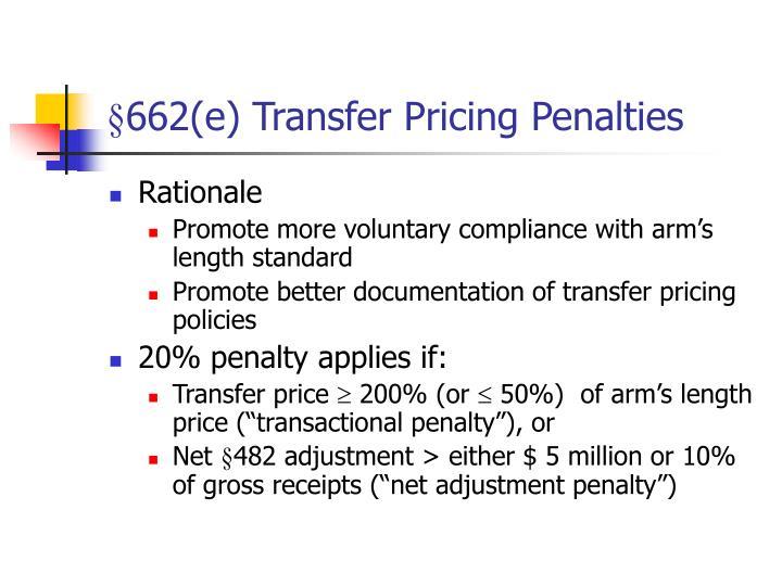 §662(e) Transfer Pricing Penalties