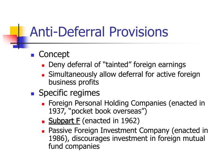 Anti-Deferral Provisions
