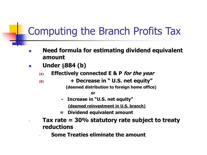 Computing the Branch Profits Tax