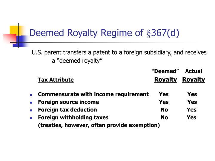 Deemed Royalty Regime of