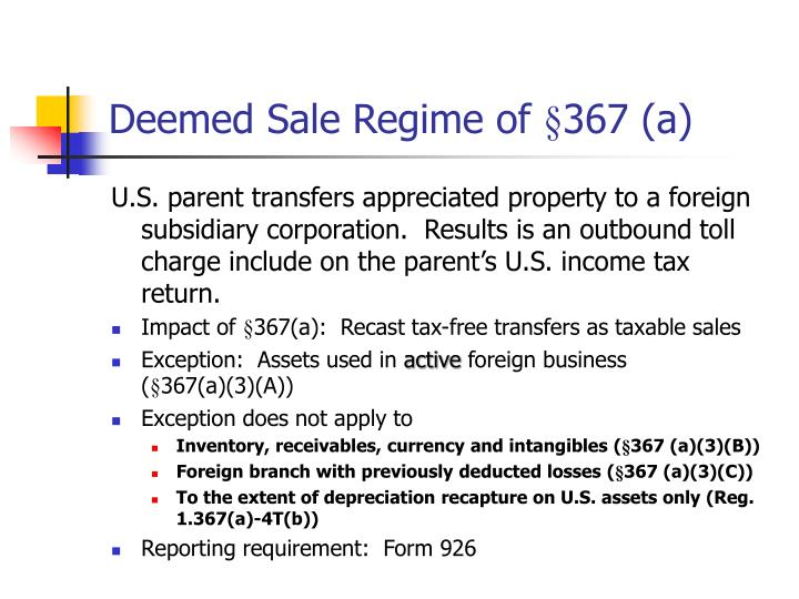 Deemed Sale Regime of