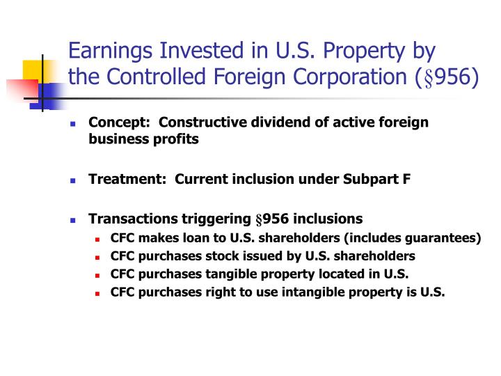 Earnings Invested in U.S. Property by