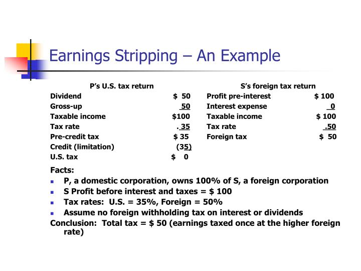 Earnings Stripping – An Example