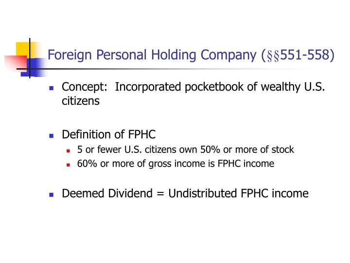 Foreign Personal Holding Company (