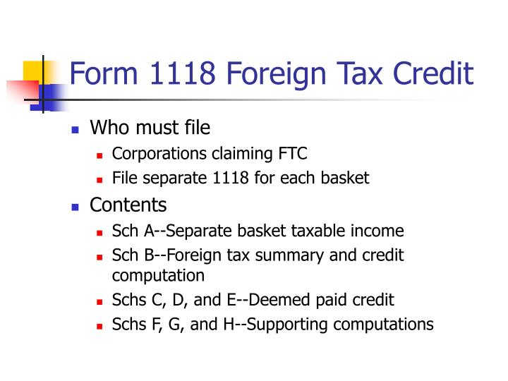 Form 1118 Foreign Tax Credit