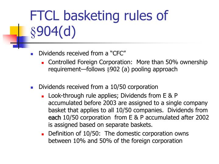FTCL basketing rules of