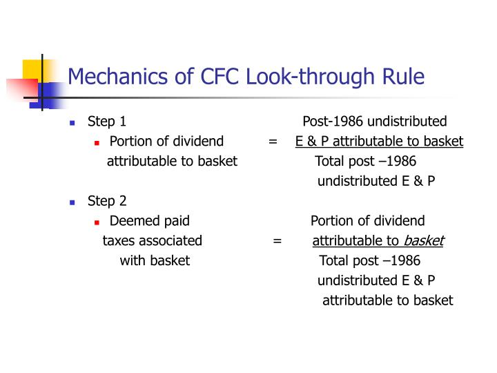 Mechanics of CFC Look-through Rule