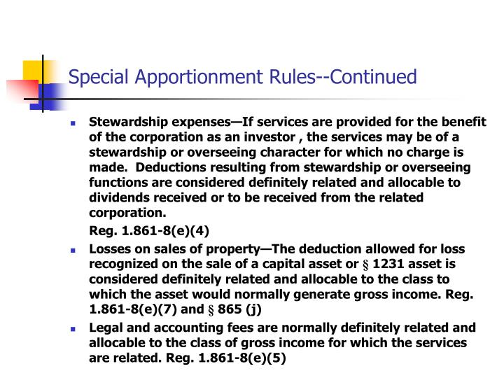 Special Apportionment Rules--Continued