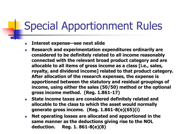 Special Apportionment Rules