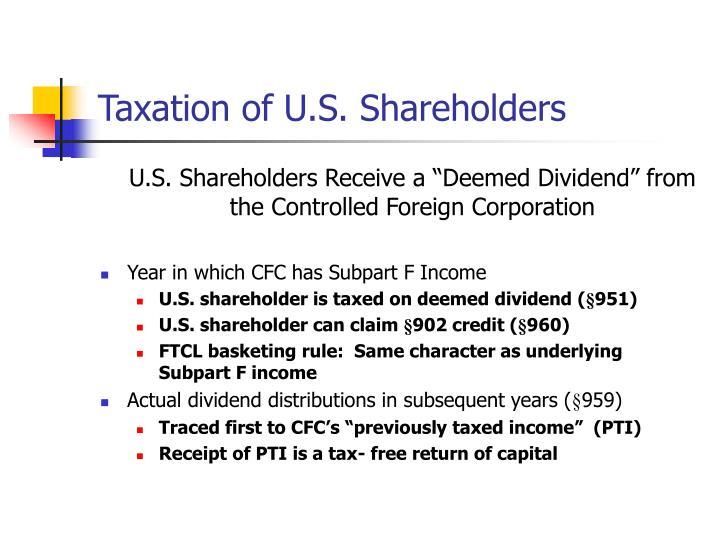 Taxation of U.S. Shareholders