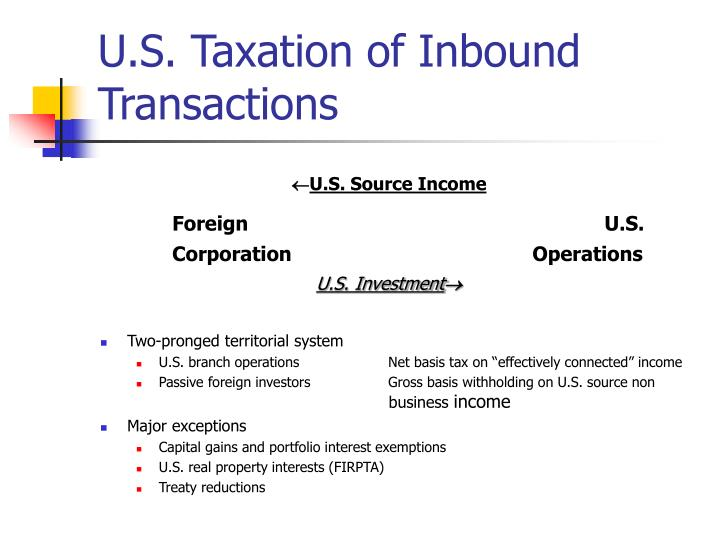 U.S. Taxation of Inbound Transactions