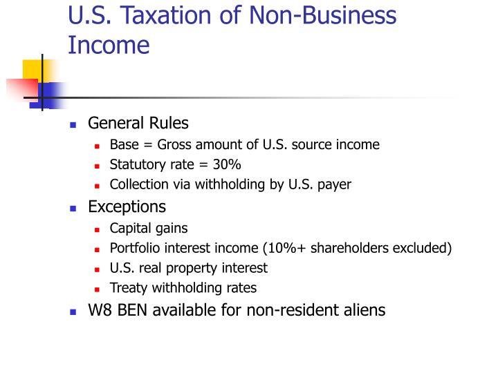U.S. Taxation of Non-Business Income