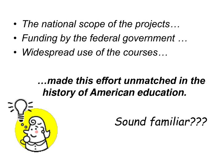 The national scope of the projects…