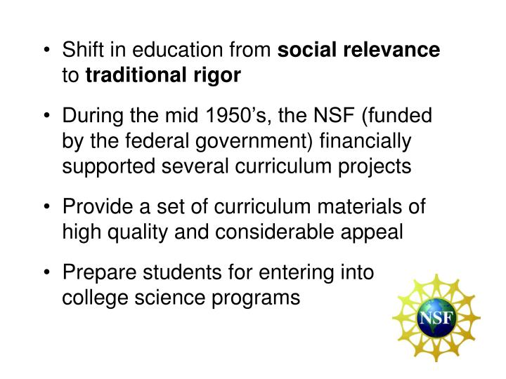 Shift in education from