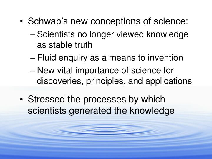 Schwab's new conceptions of science: