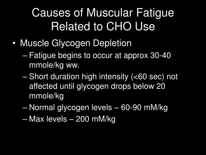 Causes of Muscular Fatigue Related to CHO Use