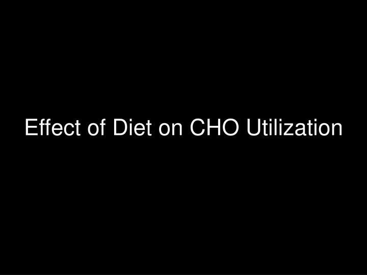 Effect of Diet on CHO Utilization