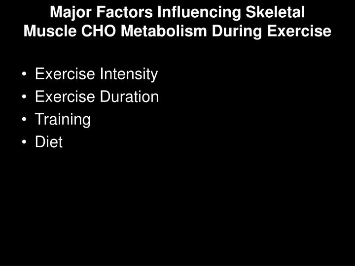 Major Factors Influencing Skeletal Muscle CHO Metabolism During Exercise