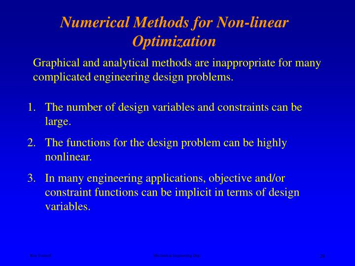 Numerical Methods for Non-linear Optimization