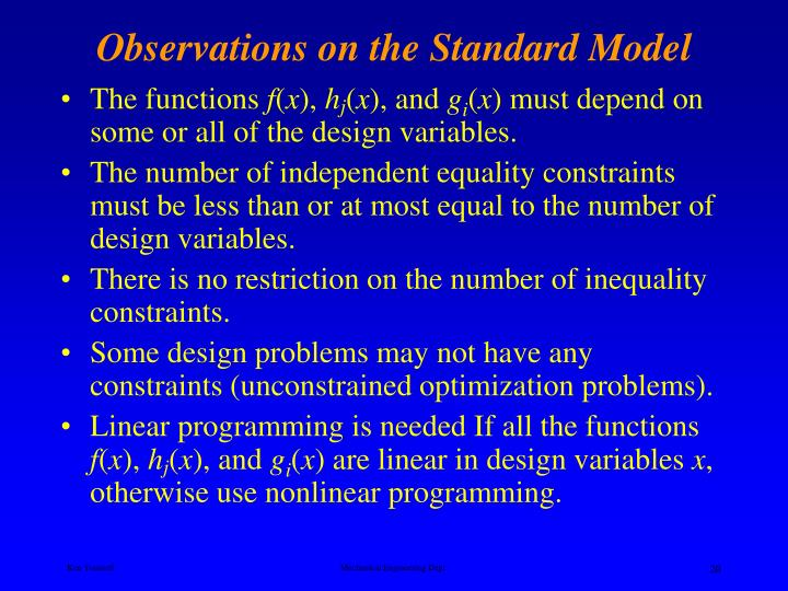 Observations on the Standard Model
