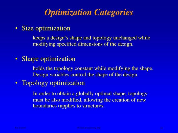 Optimization Categories