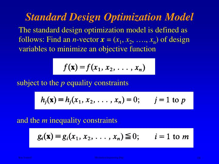 Standard Design Optimization Model