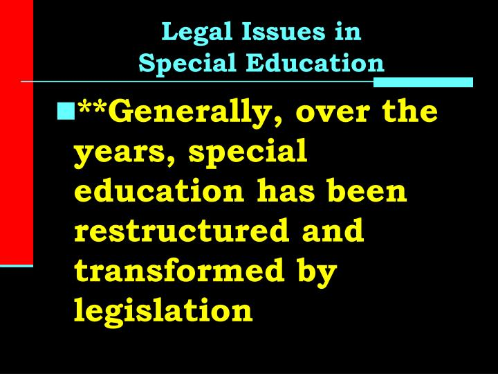 Legal issues in special education