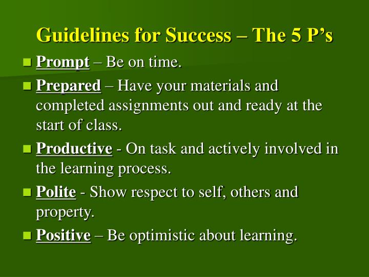 Guidelines for Success – The 5 P's