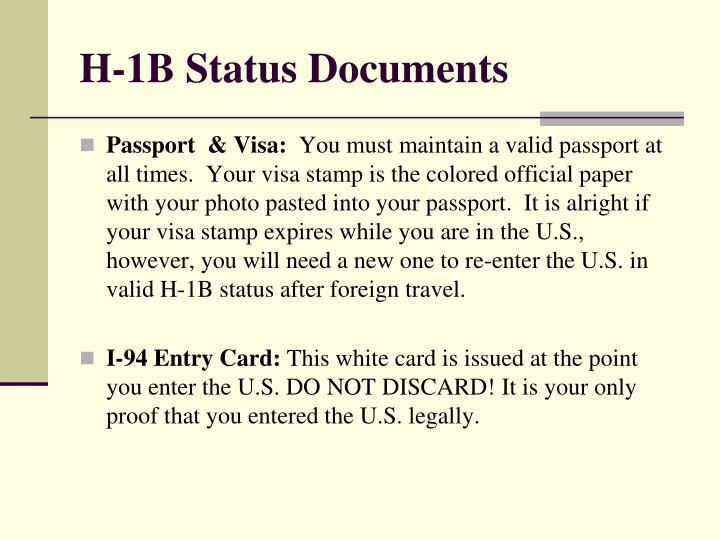 H-1B Status Documents