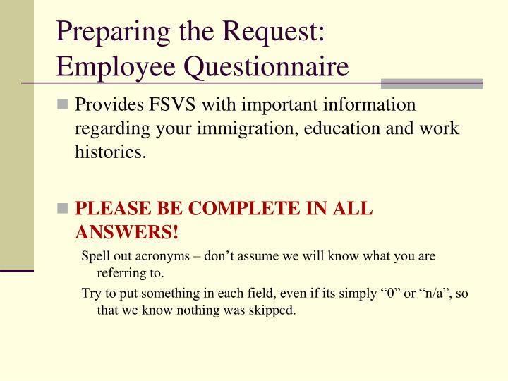 Preparing the Request:
