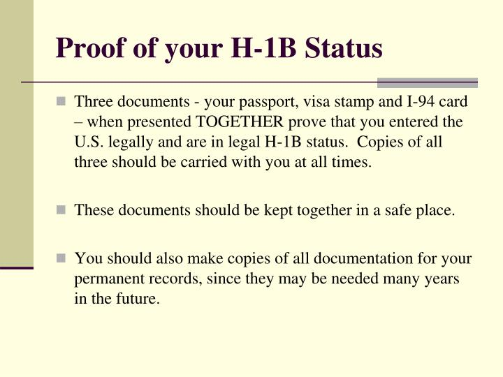 Proof of your H-1B Status