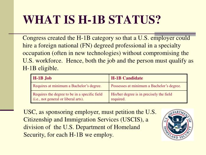 WHAT IS H-1B STATUS?