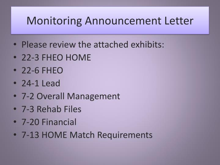 Monitoring announcement letter