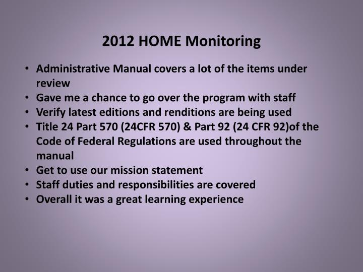 2012 HOME Monitoring