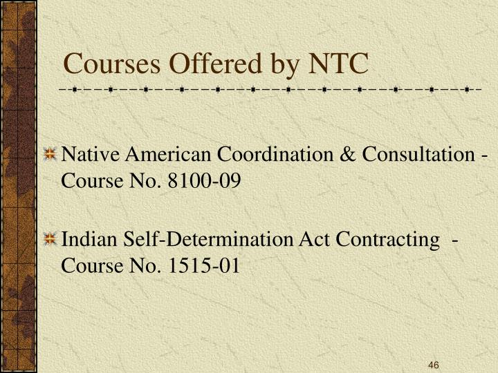 Courses Offered by NTC