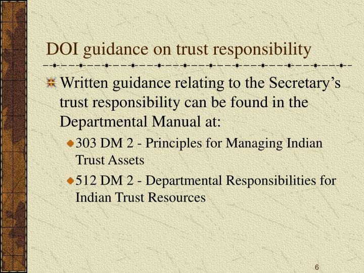 DOI guidance on trust responsibility