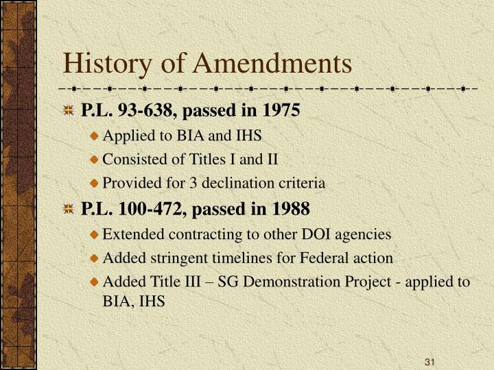 History of Amendments