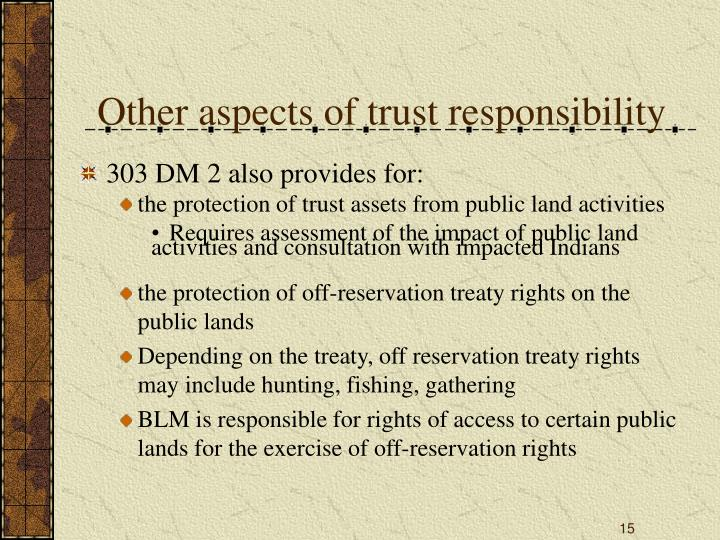 Other aspects of trust responsibility